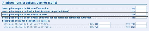 Déclaration fiscale FIP Corse IR