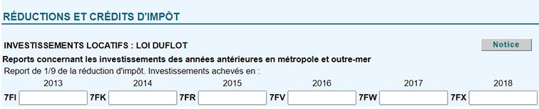Déclaration investissement Duflot