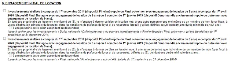 Déclaration Pinel, engagement initial de location