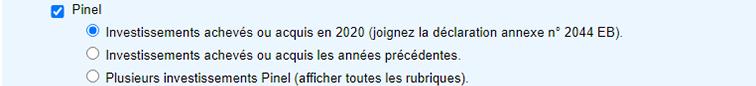 Déclaration investissement Pinel 2020